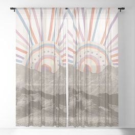 Summerlin Mountain Up // Abstract Vintage Mountains Summer Sun Surf Beach Vibe Drawing Happy Wall Ha Sheer Curtain