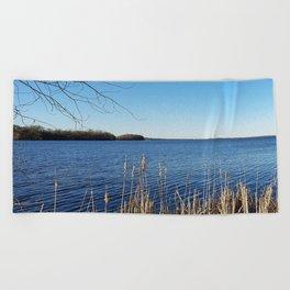 """Incredi-blue"" lake view - Lake Mendota, Madison, WI Beach Towel"