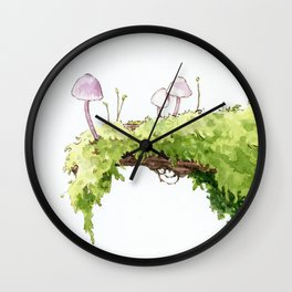 Mushrooms and Moss Wall Clock
