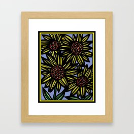 Calypso Flowers Yellow Red Blue Framed Art Print