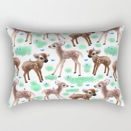 Baby deer and birds Rectangular Pillow