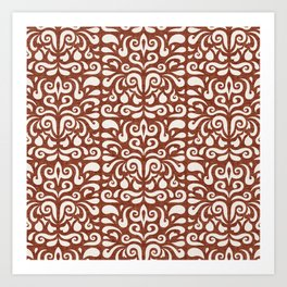 cadence damask - rust Art Print