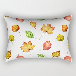 Hand painted green gold brown red Autumn leaves Rectangular Pillow