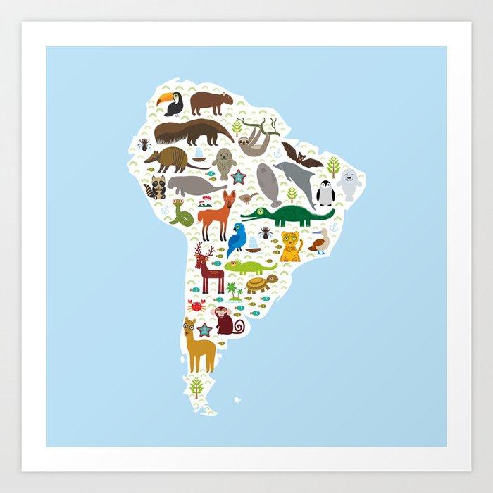 South America sloth anteater toucan lama bat fur seal armadillo boa manatee monkey dolphin Art Print