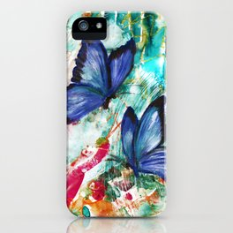Blue Butterflies on Mixed Media Background iPhone Case