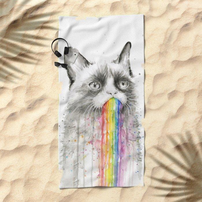 Grumpy Rainbow Cat Watercolor Animal Meme Geek Art Beach Towel
