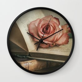 Still life with pink rose and old books Wall Clock