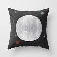 the moon Throw Pillows featuring Moon by FLATOWL