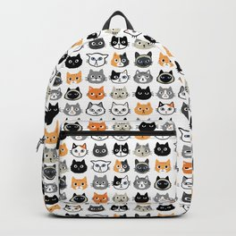 Cute Cats | Assorted Kitty Cat Faces | Fun Feline Drawings Backpack