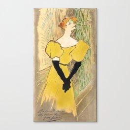 """Henri de Toulouse-Lautrec """"Yvette Guilbert"""" Canvas Print"""