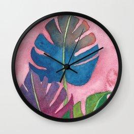 Monstera Colorful Trio  Wall Clock