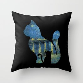 Cat Watching The Starry Night Over The Rhone - Van Gogh Painting Throw Pillow