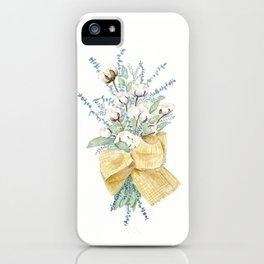 Cotton and Flower Bouquet Watercolor by Liz Ligeti Kepler iPhone Case
