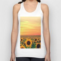 sunflower Tank Tops featuring Sunflower by Don't Be A Dick