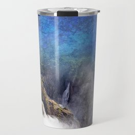 Wild waterfall in abstract Travel Mug