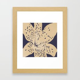 Soybean lily on eclipse blue Framed Art Print