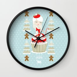 Merry Lady Christmas Cupcake Wall Clock