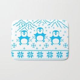 Cute Blue Scandinavian Penguin Holiday Design Bath Mat