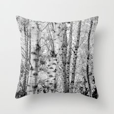 Into the forest. BW panoramic Throw Pillow