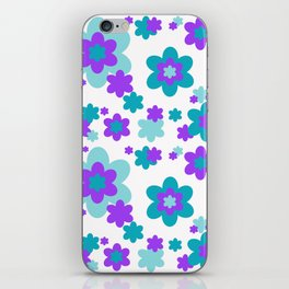 Turquoise Teal Blue and Purple Floral iPhone Skin