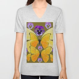 SPRING PURPLE PANSY FLOWERS & YELLOW BUTTERFLIES GARDEN Unisex V-Neck