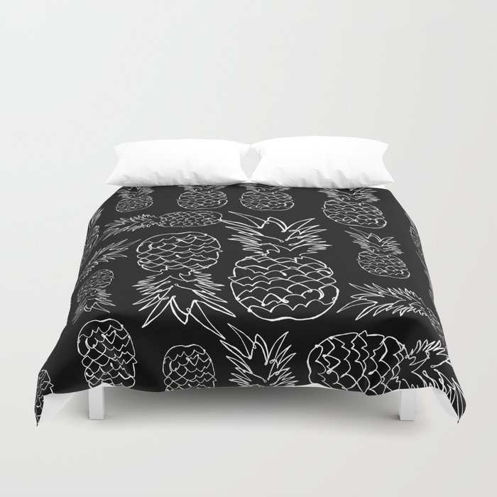 single line pineapple (white) Duvet Cover