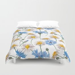 Chamomiles and blue cornflowers Duvet Cover