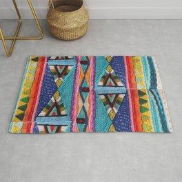 Rainbow Tribal Embroidery Rug