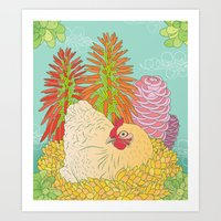 chicken Art Prints featuring Chicken by Raewyn Haughton