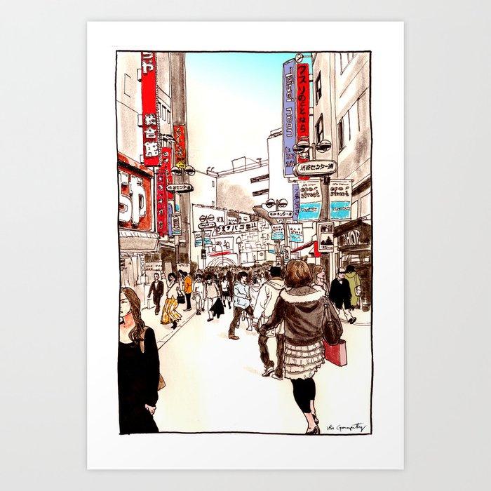 Street In Shibuya Art Print