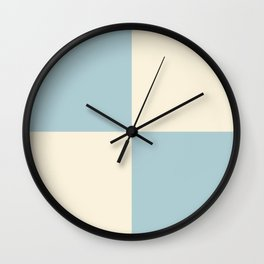 Pale blue and cream squares Wall Clock