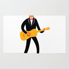 Guitarist in Tuxedo Playing Guitar Retro Rug