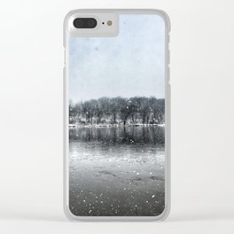 Winter Panoramic Rock River - Illinois Clear iPhone Case