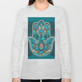 Hamsa Hand of Fatima, good luck charm, protection symbol anti evil eye Long Sleeve T-shirt