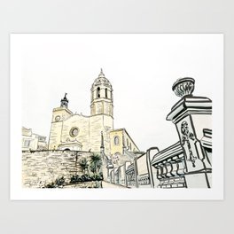 Stairs to the Beach from a medieval Church in Sitges near Barcelona Art Print