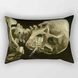 Skull of a Skeleton with Burning Cigarette by Vincent van Gogh Rectangular Pillow