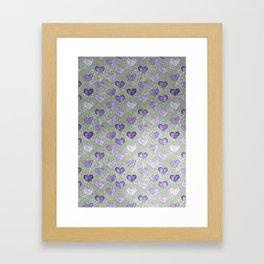 Purple Hearts On Grungy Grey Framed Art Print