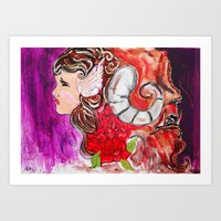 beauty and the beast Art Prints featuring Beauty + Beast by Bianca Neill