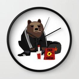 Smoking Gopnik slav bear wearing ushanka squat on the street with semechki and vodka Wall Clock