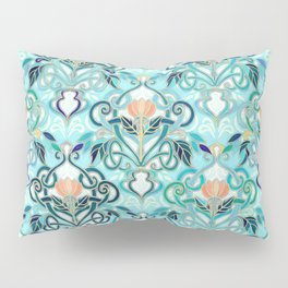 Ocean Aqua Art Nouveau Pattern with Peach Flowers Pillow Sham