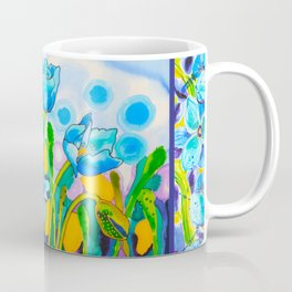 Blue Poppies 1 with Border Coffee Mug
