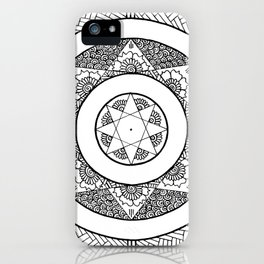 Flower Star Mandala - White Black iPhone Case