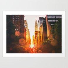 NYC Skyline Sunset Art Print