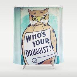 Vintage Owl Sign Shower Curtain