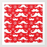 Mustaches and Snowflakes Art Print