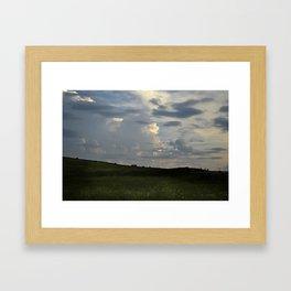 Sunset Cloudscape Rolling Hills Hay Rolls Framed Art Print