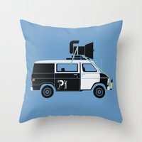 blues brothers Throw Pillows featuring The Blues Brothers' Van by Brandon Ortwein