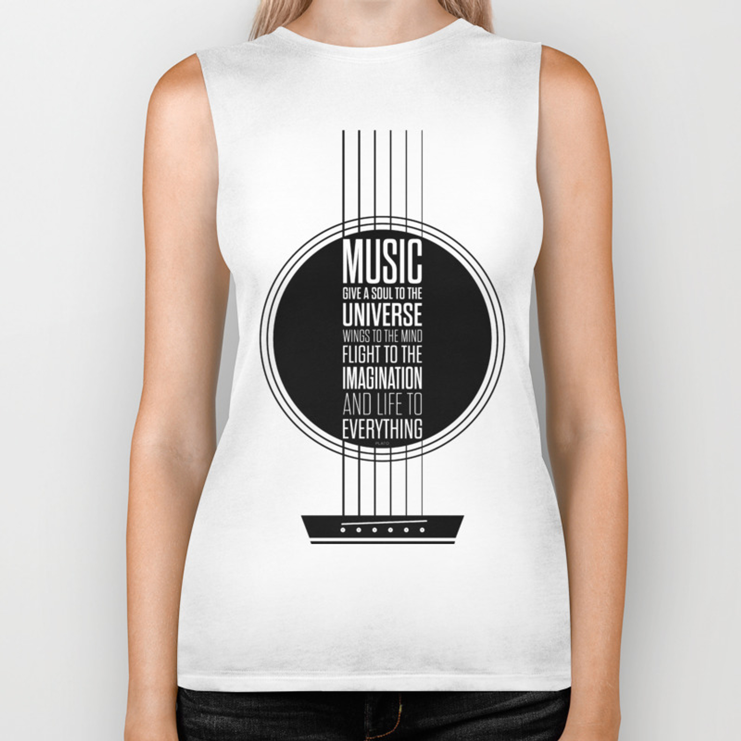 Lab No. 4 - Plato philosopher Inspirational Music Quotes poster Biker Tank  by labno4
