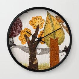 Romantic autumnal grove Wall Clock