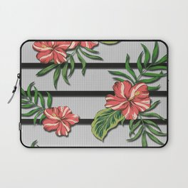 Hibiscus Flower Chevron Pattern Laptop Sleeve